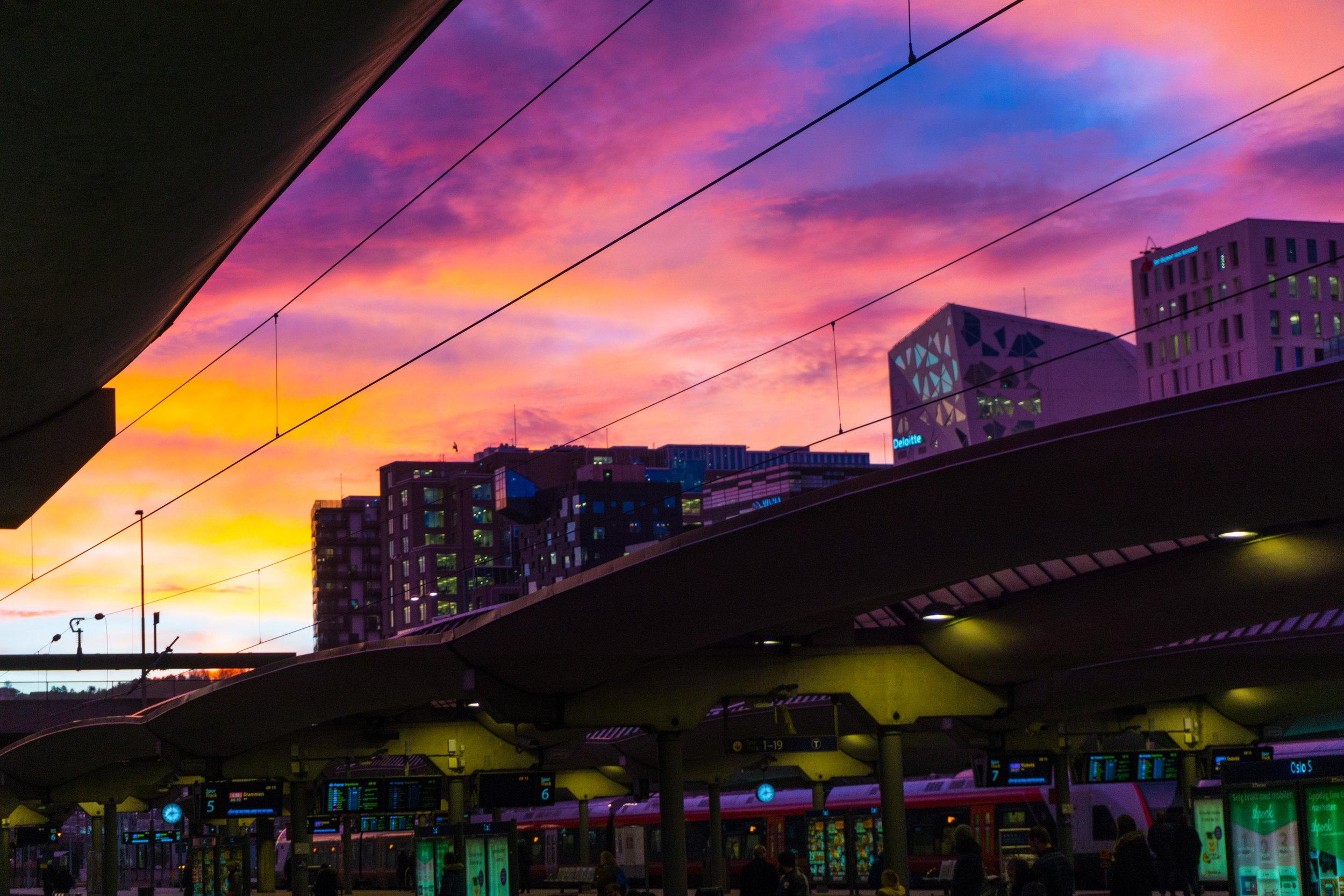 Oslo Central Station at sunrise.  At 9 in the morning.