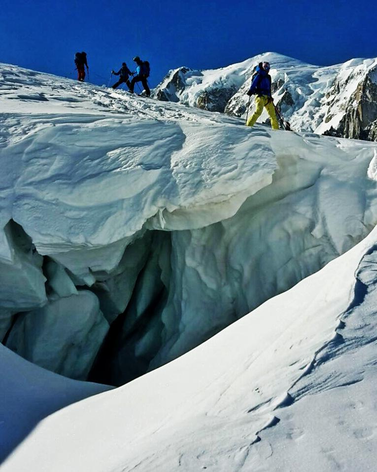 Glacial Teeth with Mont Blanc looming.                                          Photo: Sebastien Corret