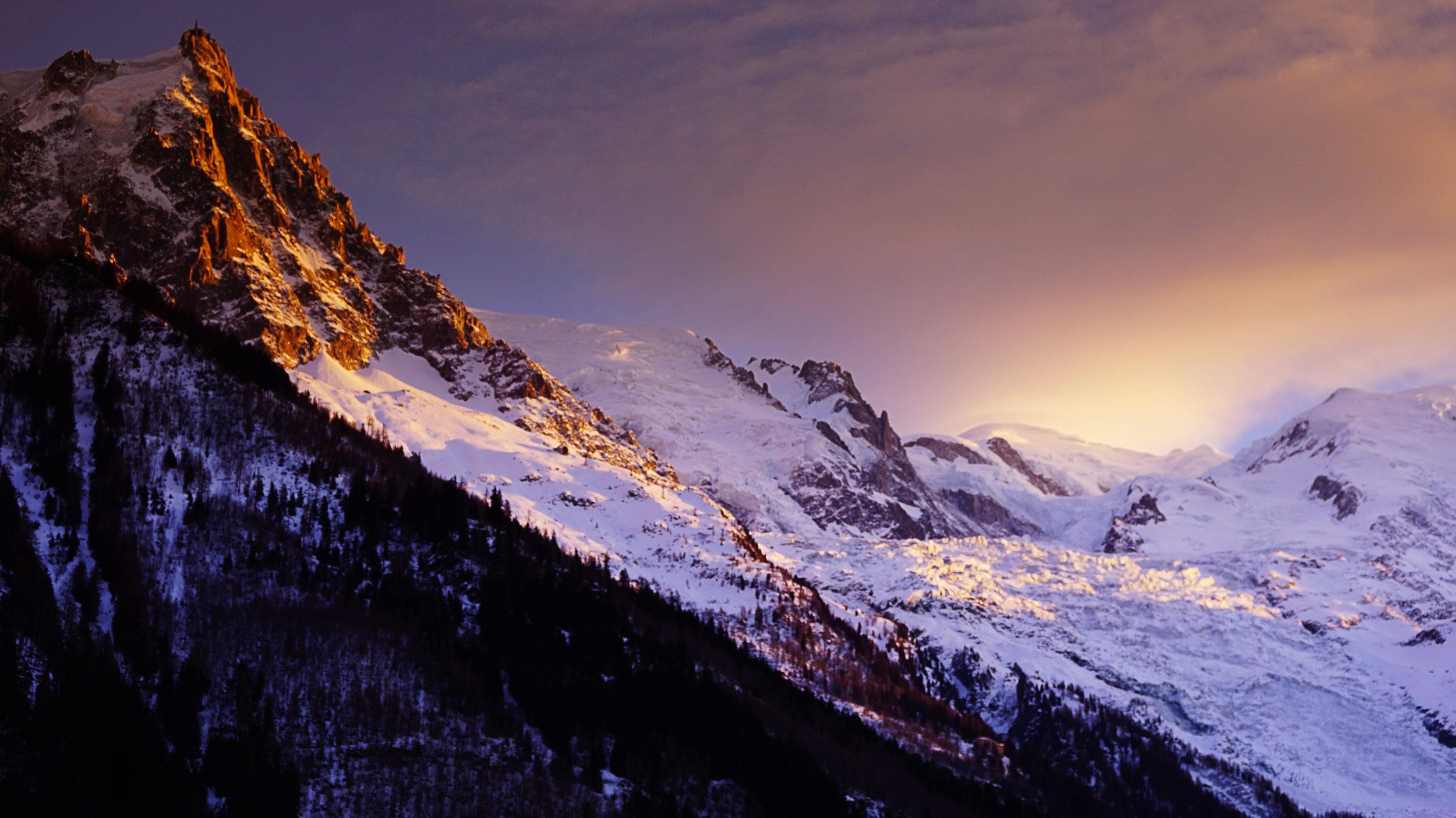 Aiguille du Midi at sunset.