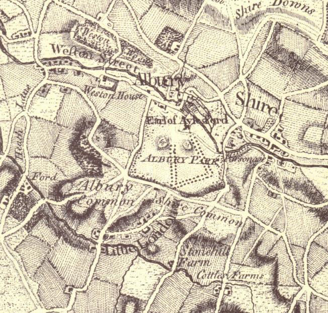 Extract showing Albury Park on Rocque's  Map of Surrey  1768