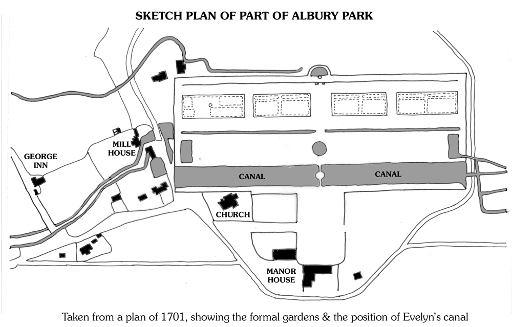 Sketch plan based on a plan of 1701 showing the formal gardens & the position of Evelyn's canal