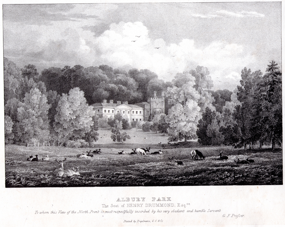 Engraving of North front for Henry Drummond by G F Prosser  circa  1830