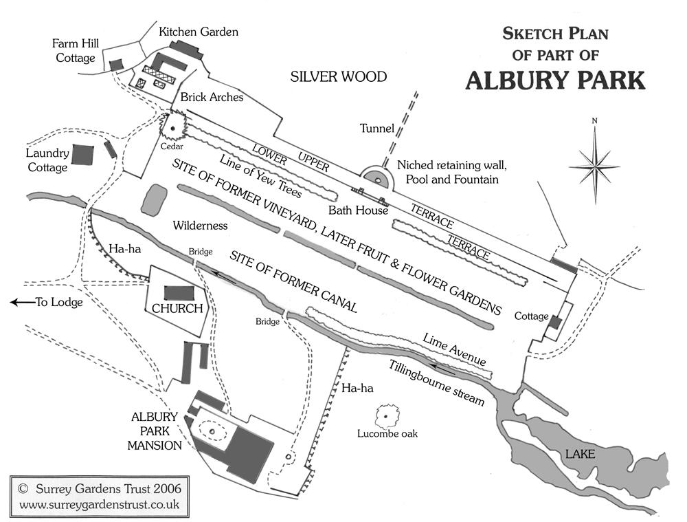 Sketch plan of part of Albury Park in 2006
