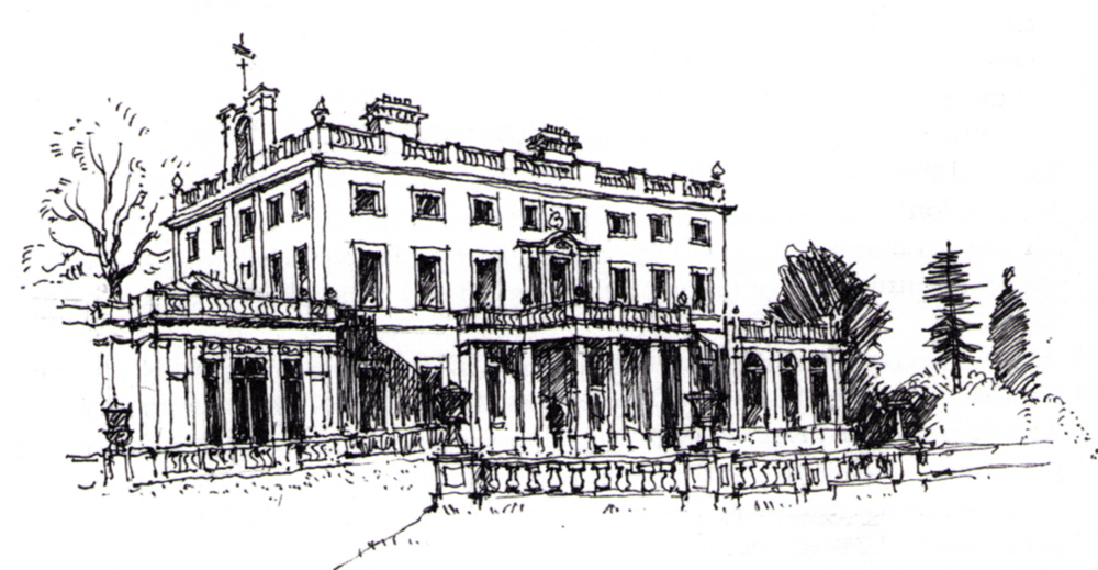 Sketch of Ashtead Park House (south front) in 2000