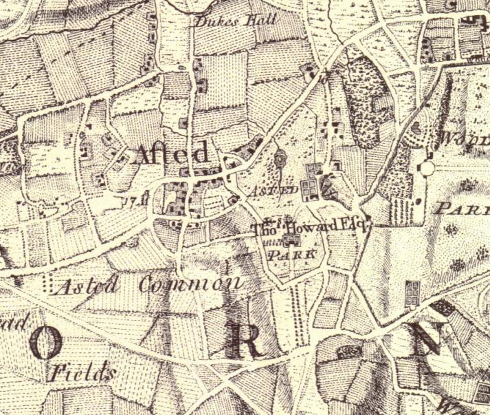Extract showing Ashtead Park on Rocque's  Map of Surrey  1768