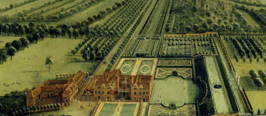 Bird's eye view of Clandon by Leendert Knyff, 1708