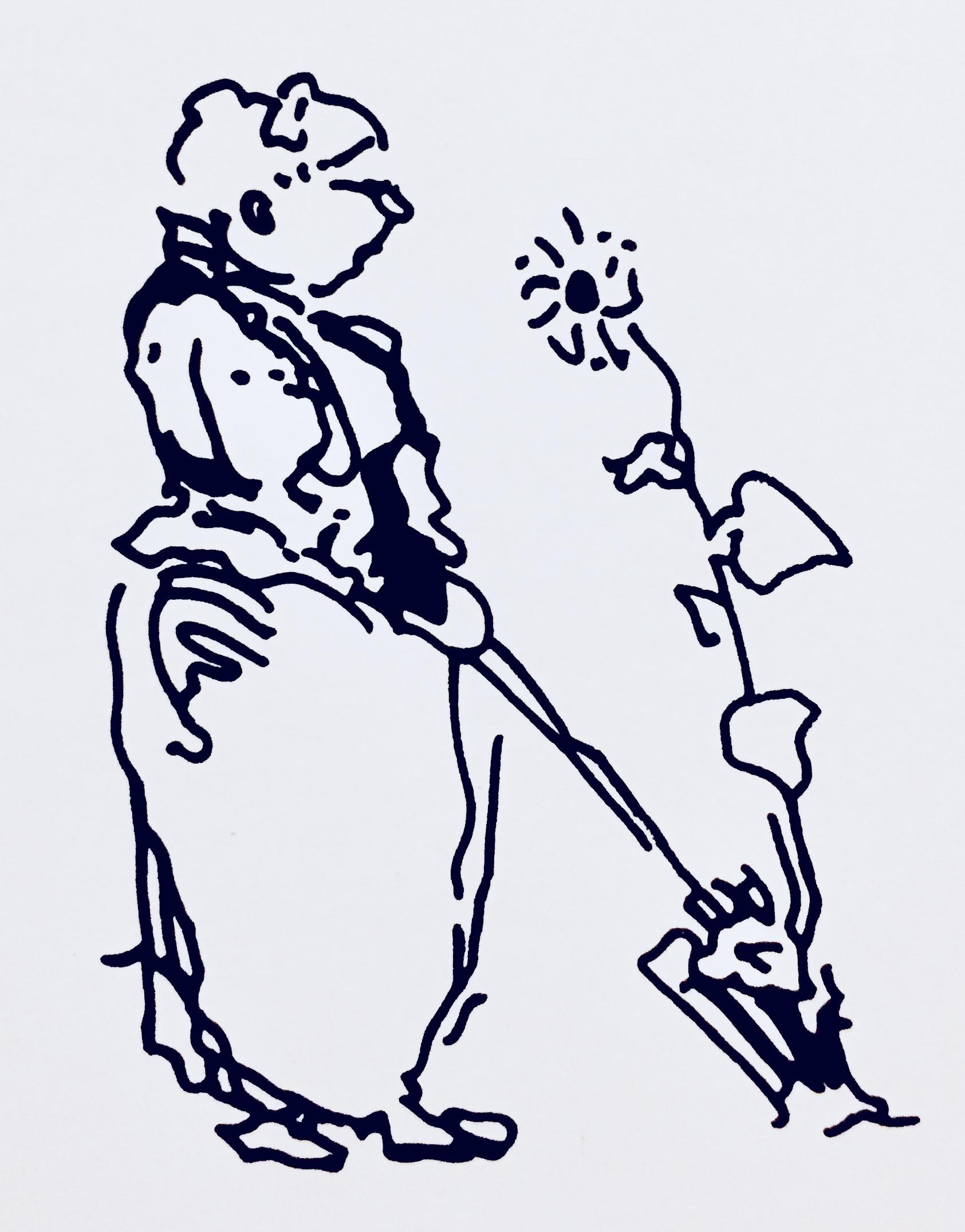 Edwin Lutyens sketch of his friend and collaborator (Redrawn version - original ©RIBA Collection)