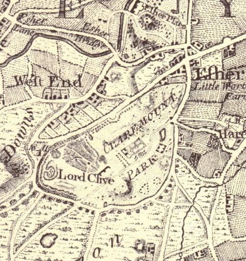 Extract showing Claremont Park on Rocque's  Map of Surrey  1768