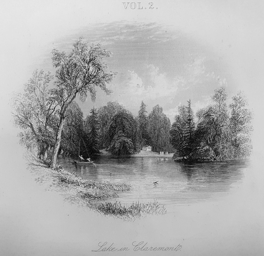 Lake in Claremont from  A Topographical History of Surrey  by E W Brayley 1848