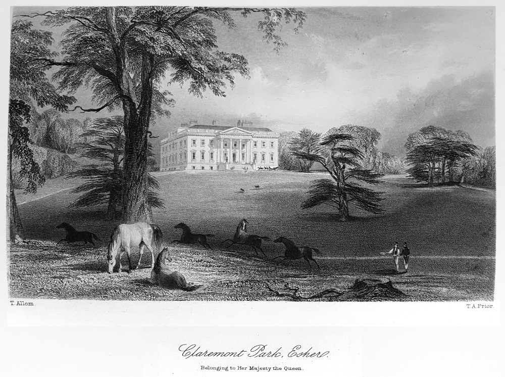 Claremont Park, Esher from  A Topographical History of Surrey  by E W Brayley 1848