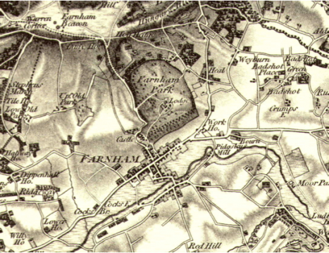 Extract from OS one-inch Old Series map of 1816 showing Farnham Park