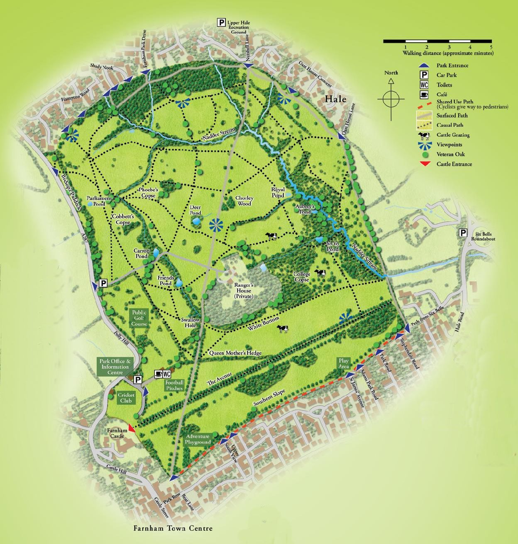 Modern map of Farnham Park