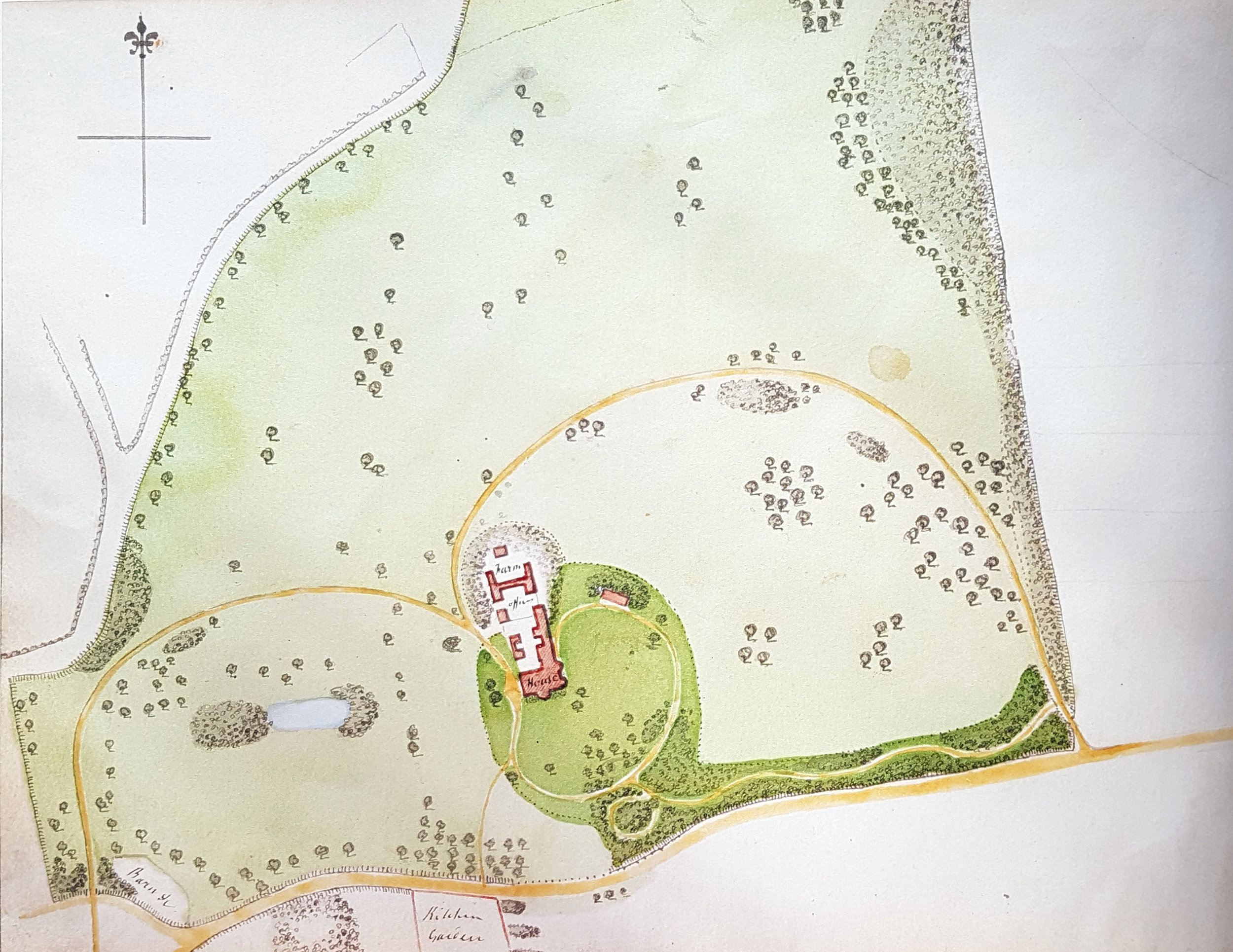 Plan of Hatchlands from Humphry Repton's 'Red Book' 1800