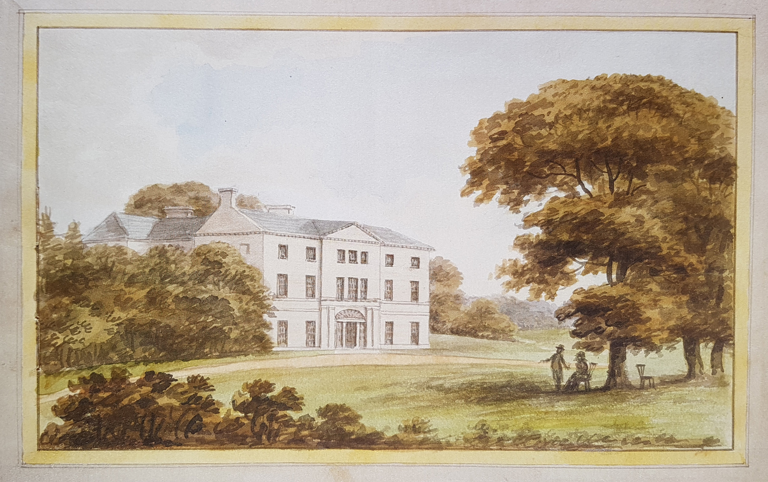Painting of Hatchlands from Humphry Repton's 'Red Book' showing the house as it would look after implementation of his suggested improvements 1800