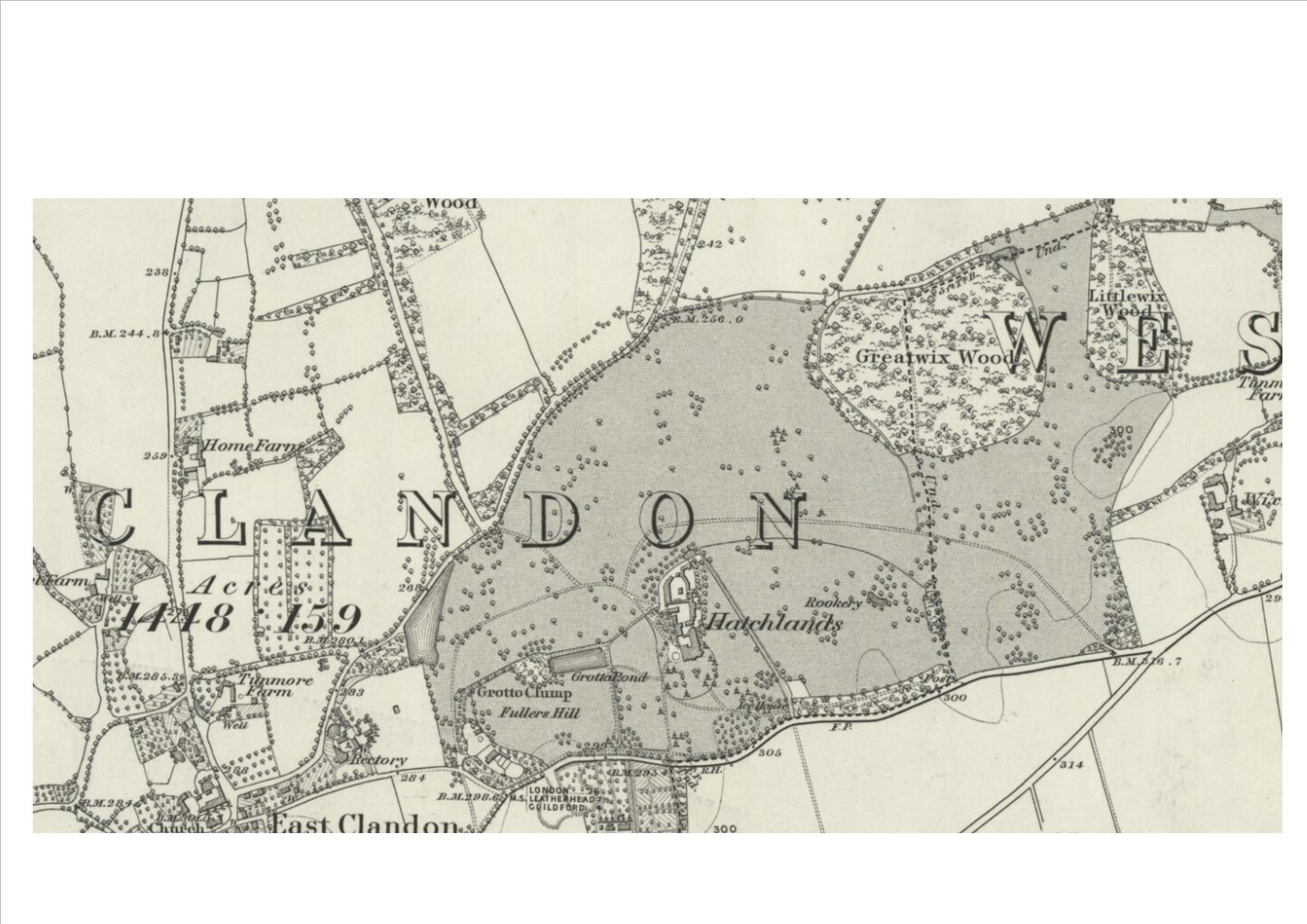 Hatchlands on the OS six-inch map Surrey XXIV 1870