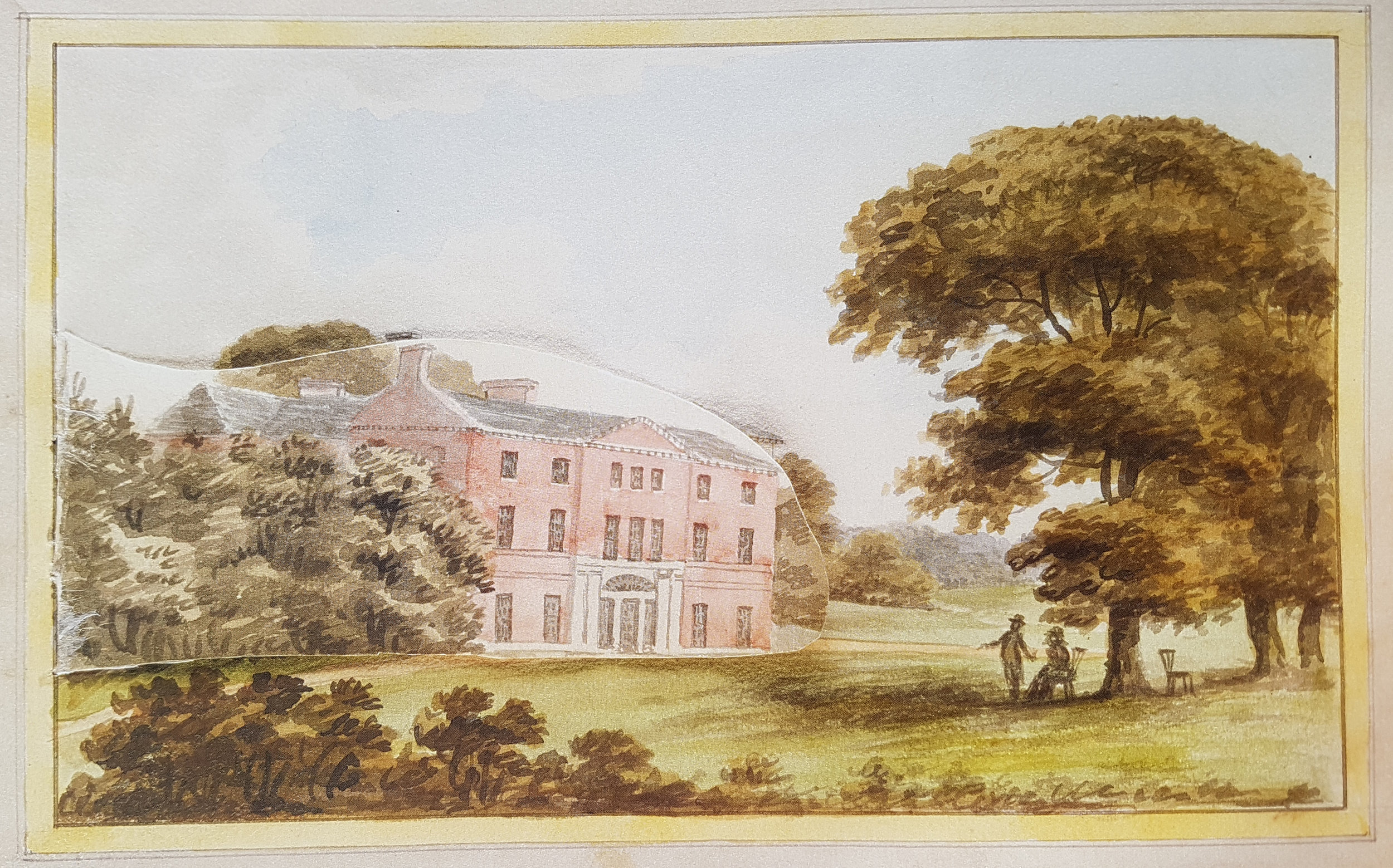Painting of Hatchlands from Humphry Repton's 'Red book' showing the house before his suggested improvements 1800