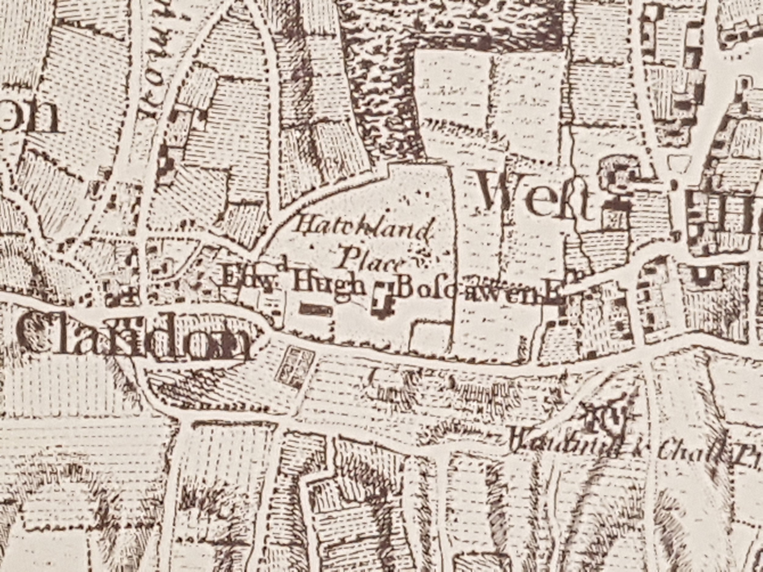 Extract showing Hatchlands on Rocque's  Map of Surrey  1768