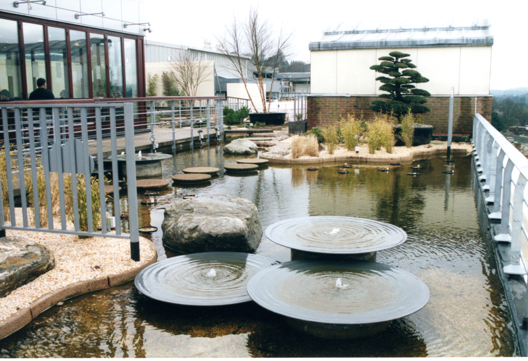 In 2001 after restoration with stepping stones and restored fountains and restaurant to the left