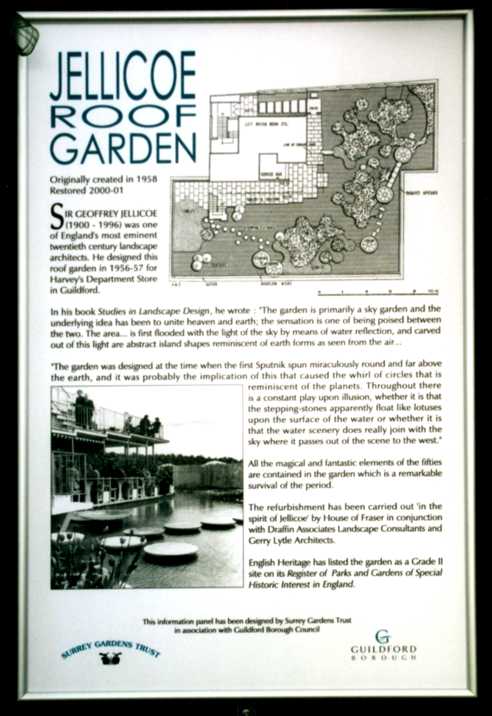 Information board prepared by Surrey Gardens Trust in association with Guildford Borough Council 2003