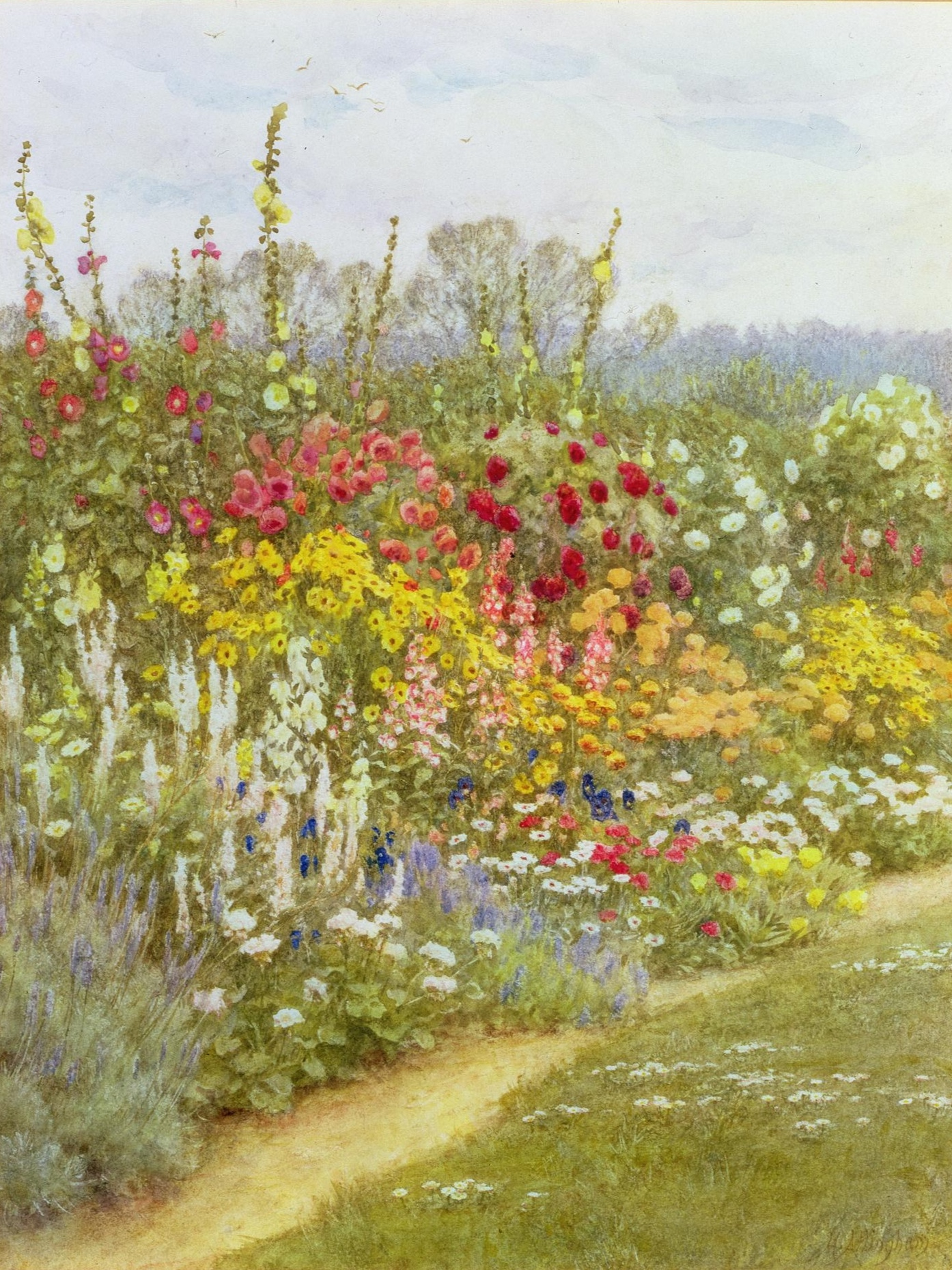 The south border at Munstead Wood  painted by Helen Allingham (1848-1926)