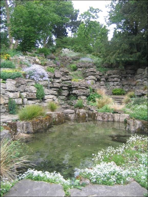 Part of the restored Pulhamite rock garden at Gatton Park in 2014