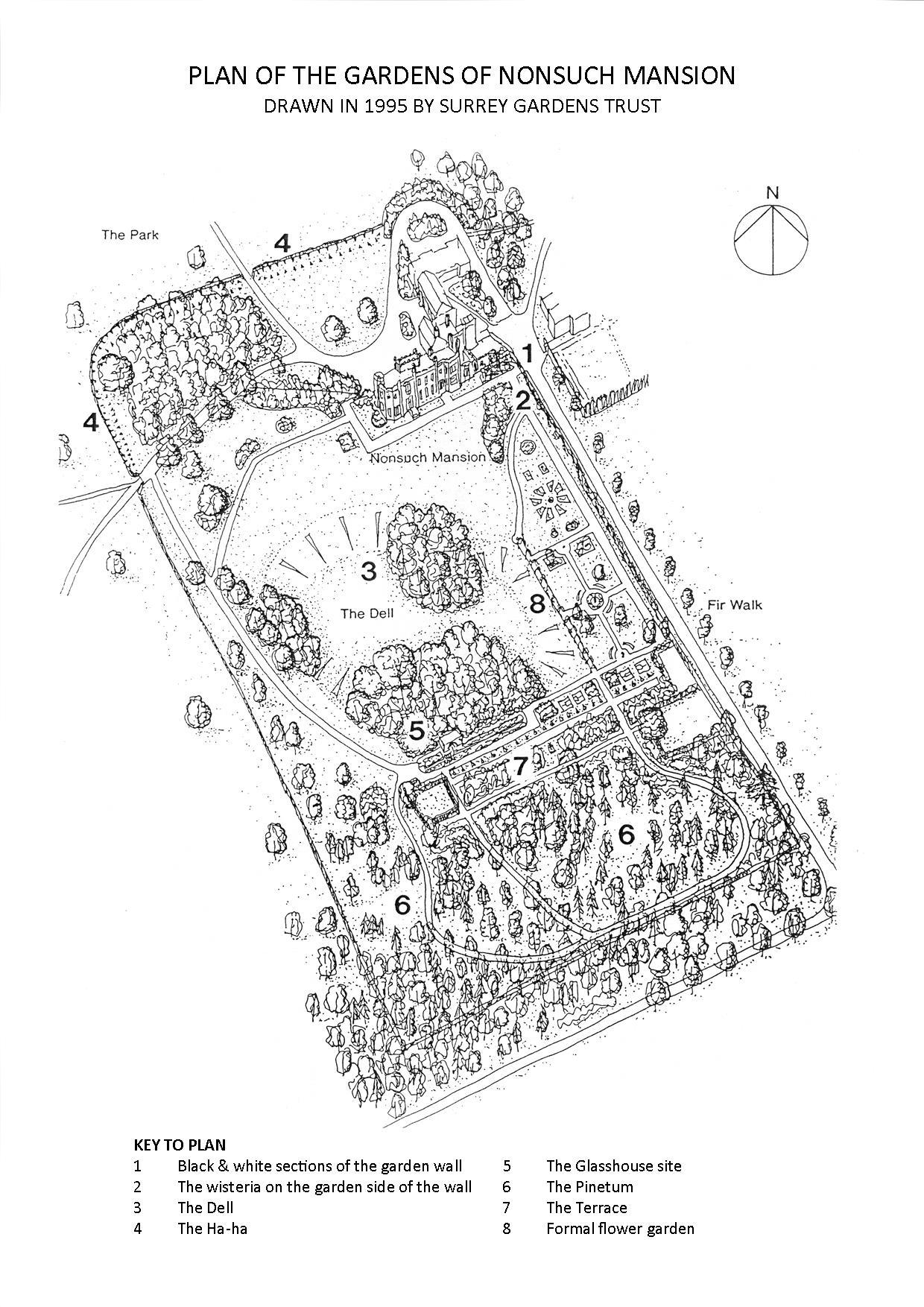 Plan of Nonsuch Mansion garden drawn by Surrey Gardens Trust in 1995