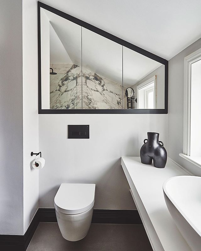 Making the most out this space. A bespoke mirrored cabinet- designed by us. Swipe to see the before image. #interiordesign #design #huxleyhome #bathroomdesign #bathroom #lusso #duravit Abbeville road, SW4
