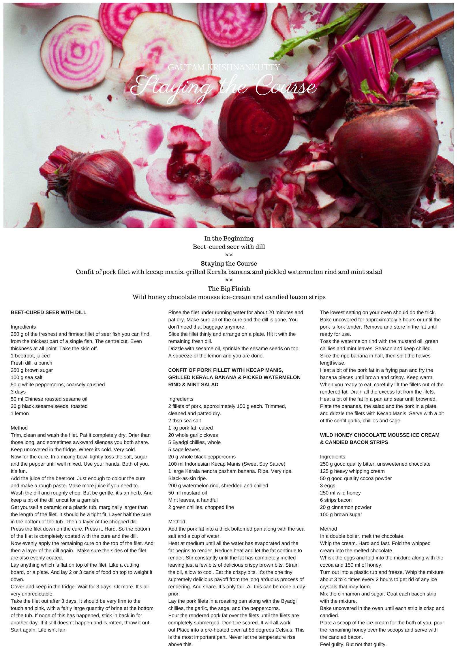 Valentine's Day menu by Gautam Krishnankutty