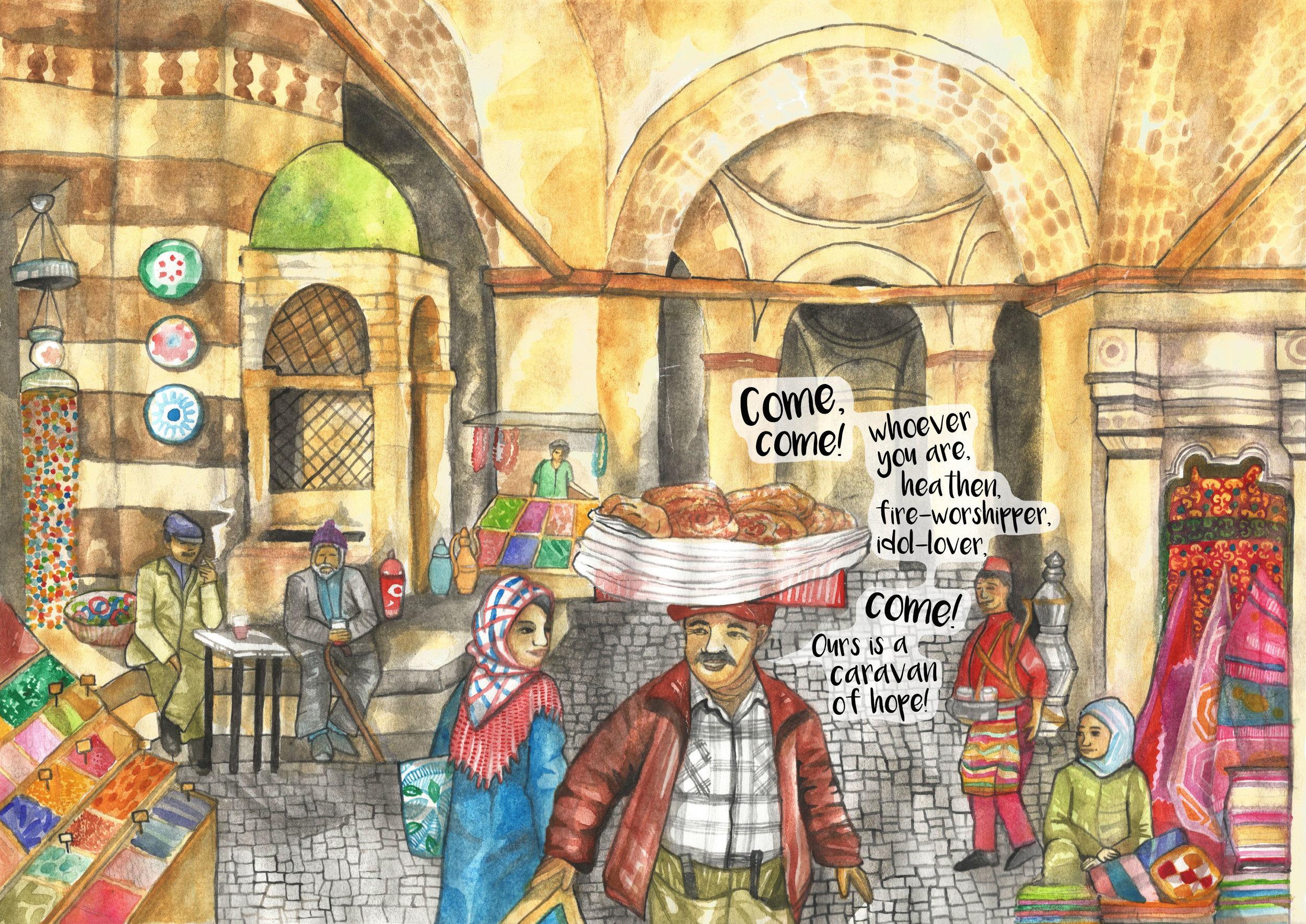 A crowded Turkish bazaar selling burek