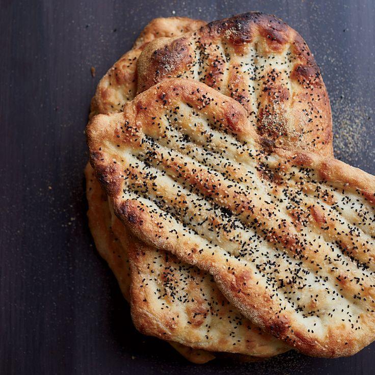 Afghani flatbread sprinkled with sesame seeds