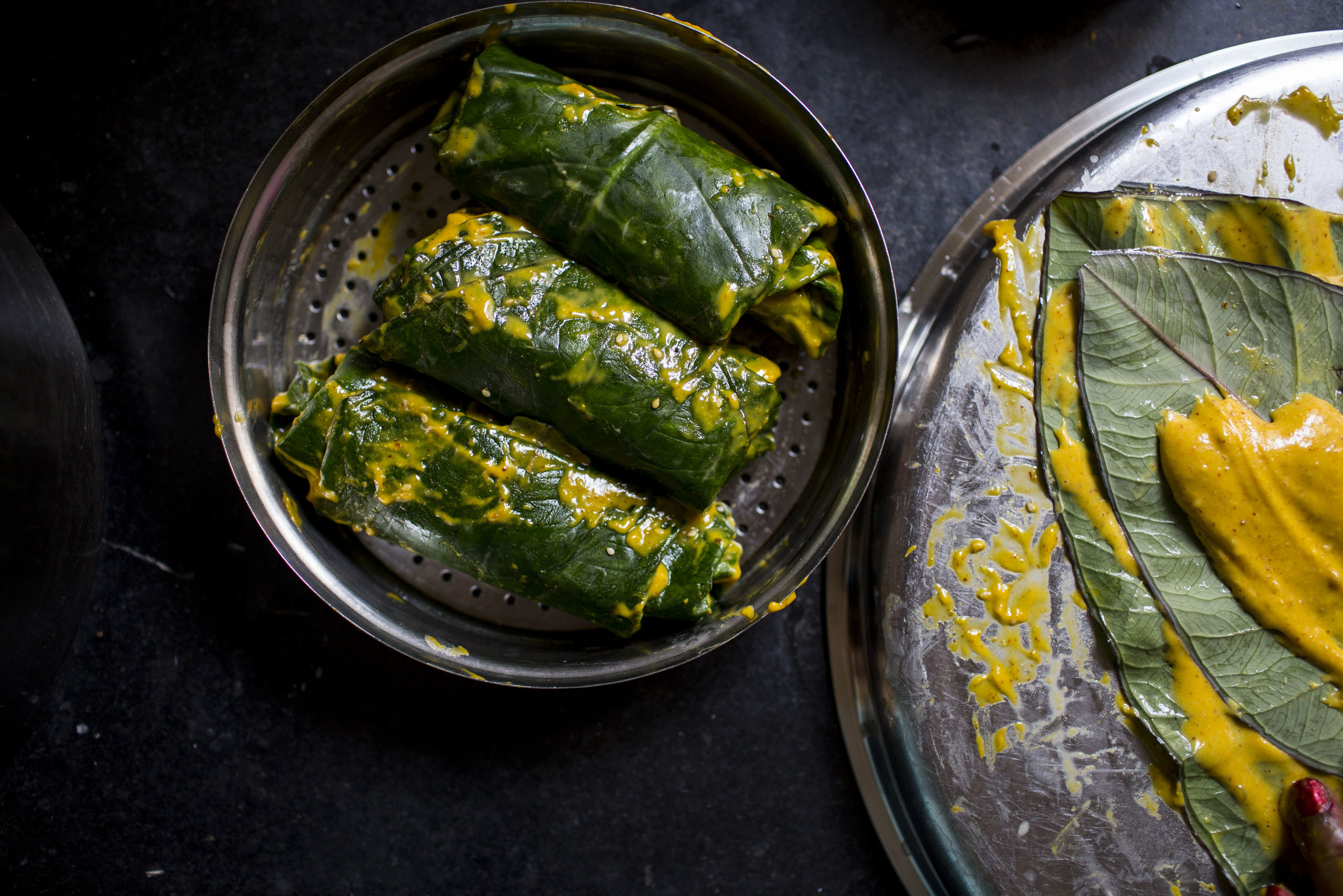 Recipe for Patrel | Gujarati farsan made with colocassia leaves, Sana Javeri