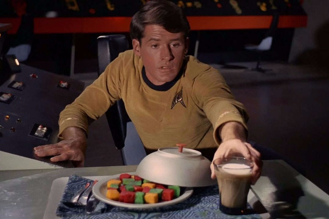 Starfleet officers consumed coffee by the gallon, along with multicoloured space food cubes.