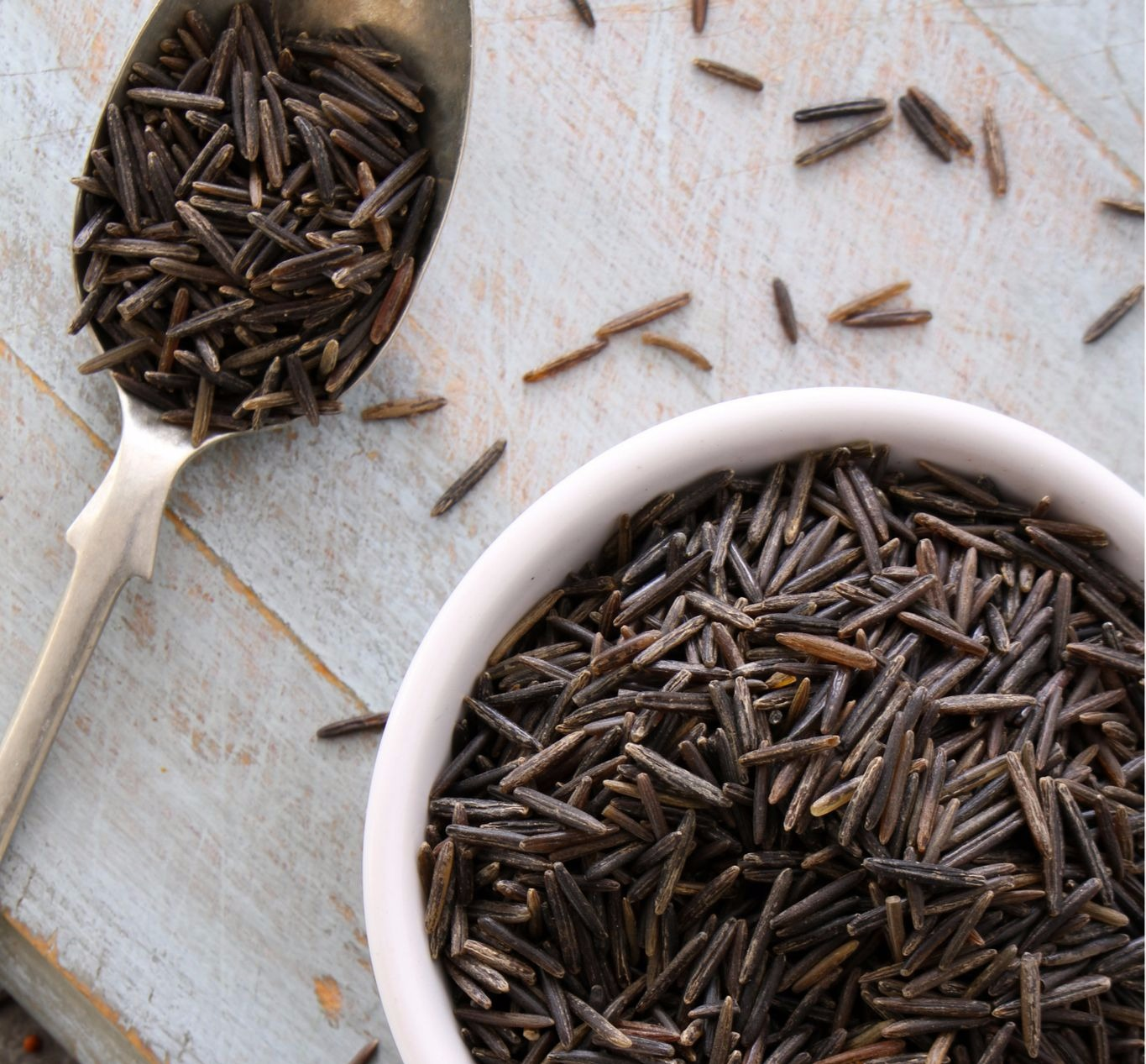 Wild rice is not rice at all, but in fact, a member of the grass family; a long, black grain, native to North America.