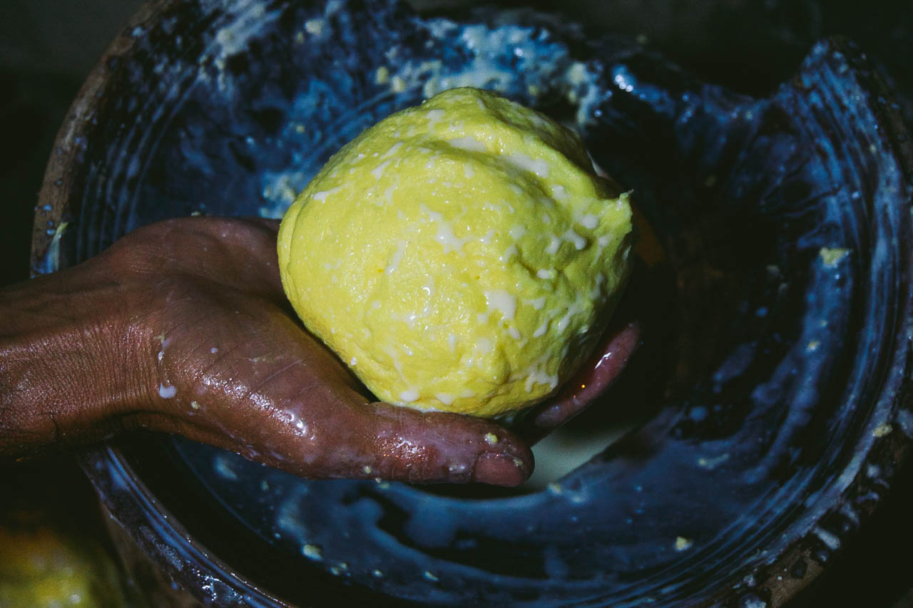 Butter made by churning milk