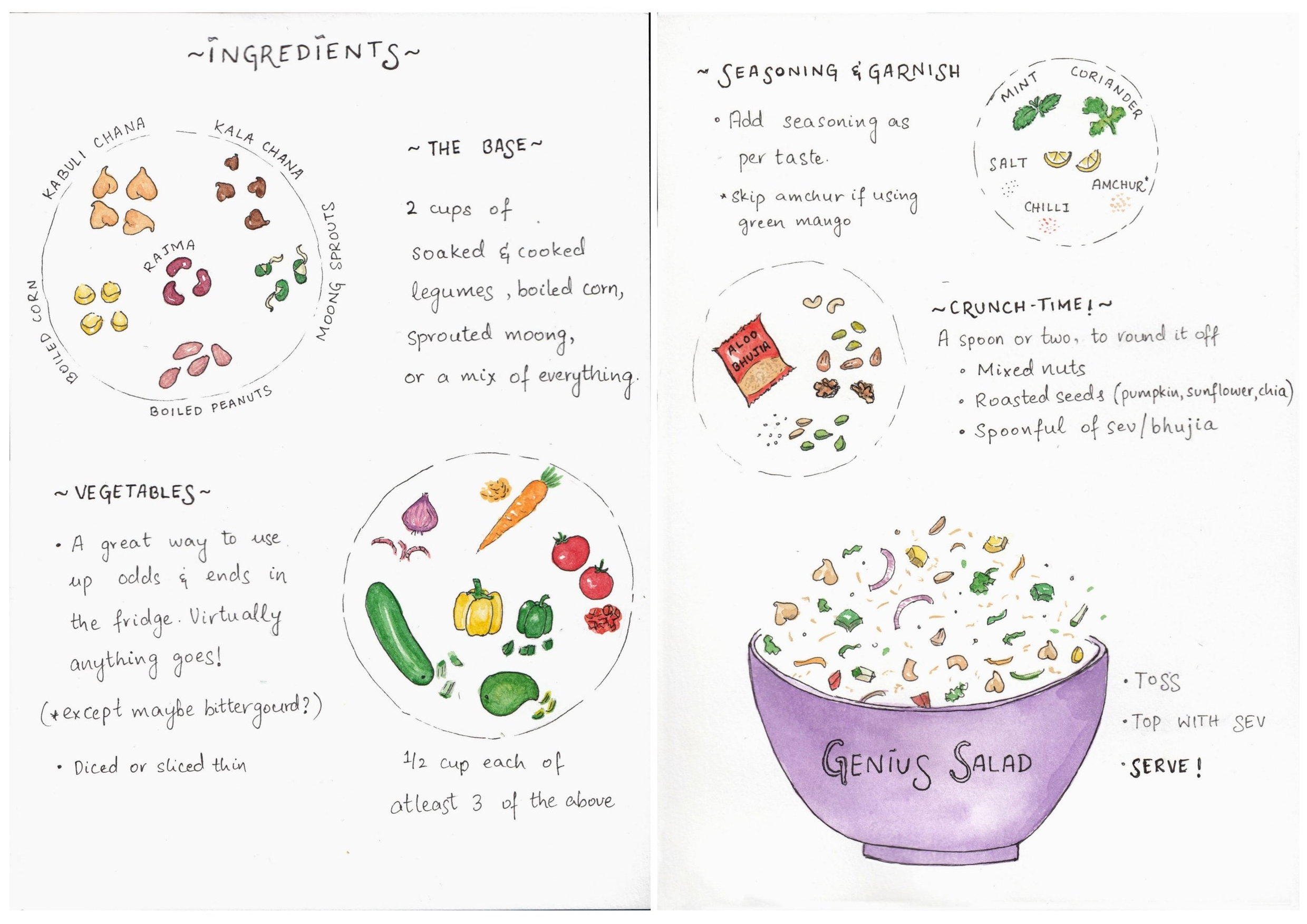 Salad recipe | Cook with children | Illustrated recipe