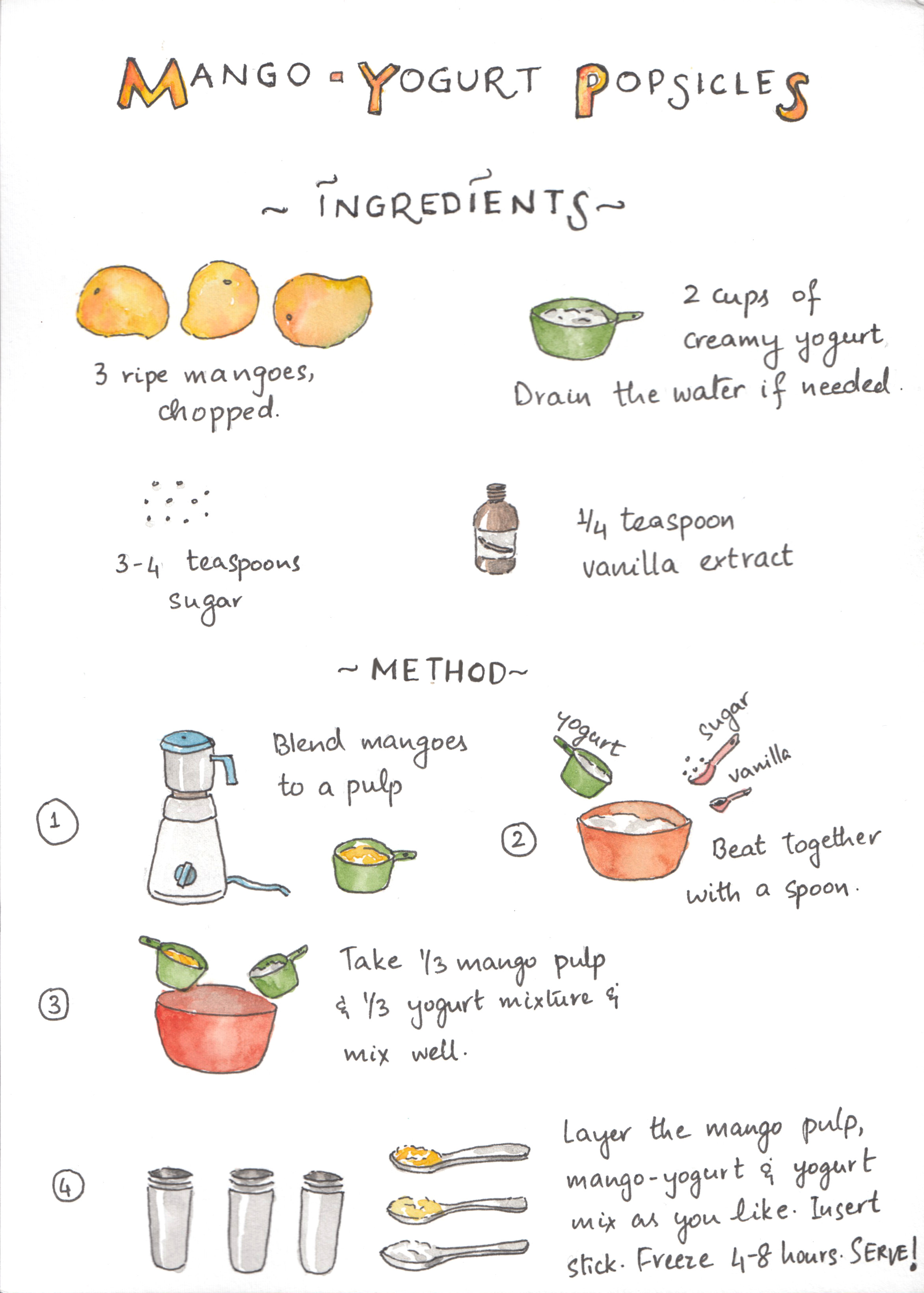 Illustrated recipe for mango yogurt popsicle | Cooking with kids