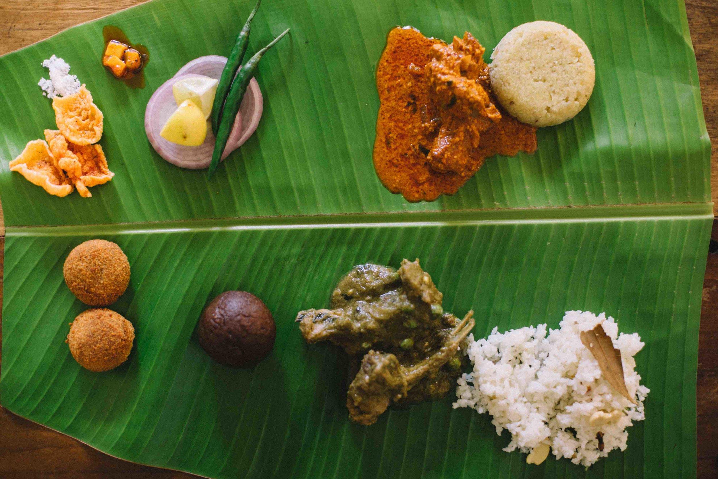 Banana leaf thali meal, Gowda style, Bengaluru Oota Company