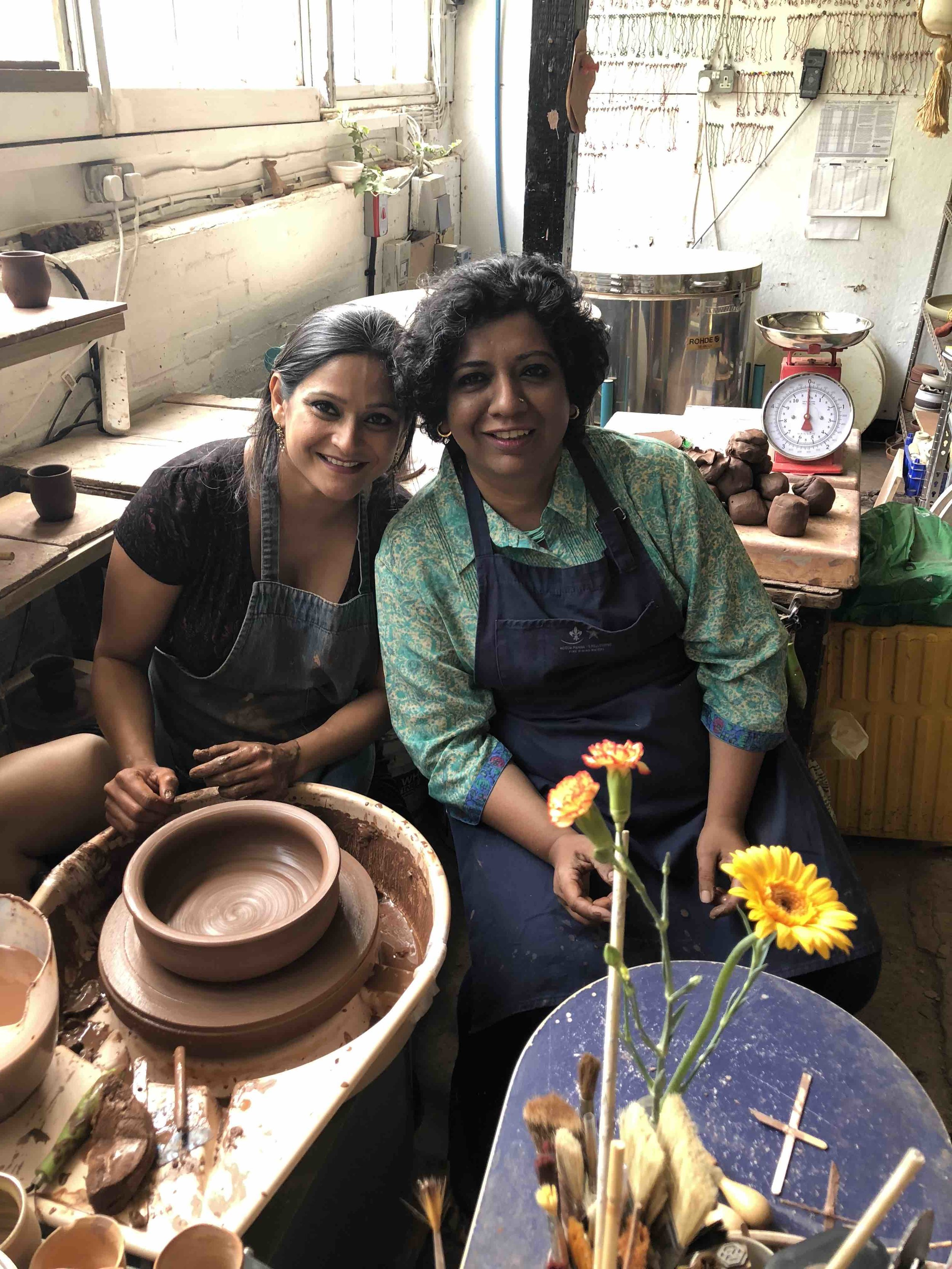 Maham in her studio with Chef Asma Khan
