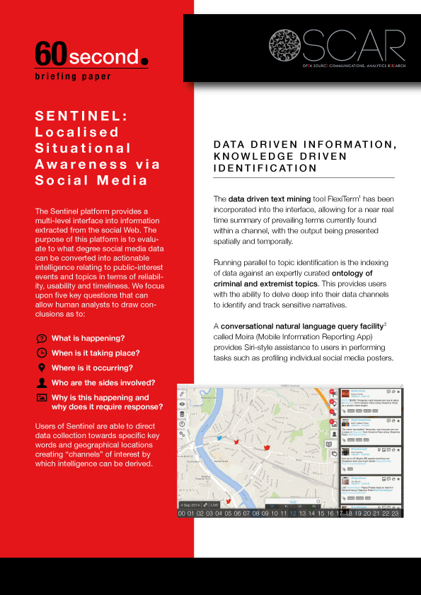 OSCAR 60 Second Briefing Paper: SENTINEL Local Situational Awareness via Social Media -