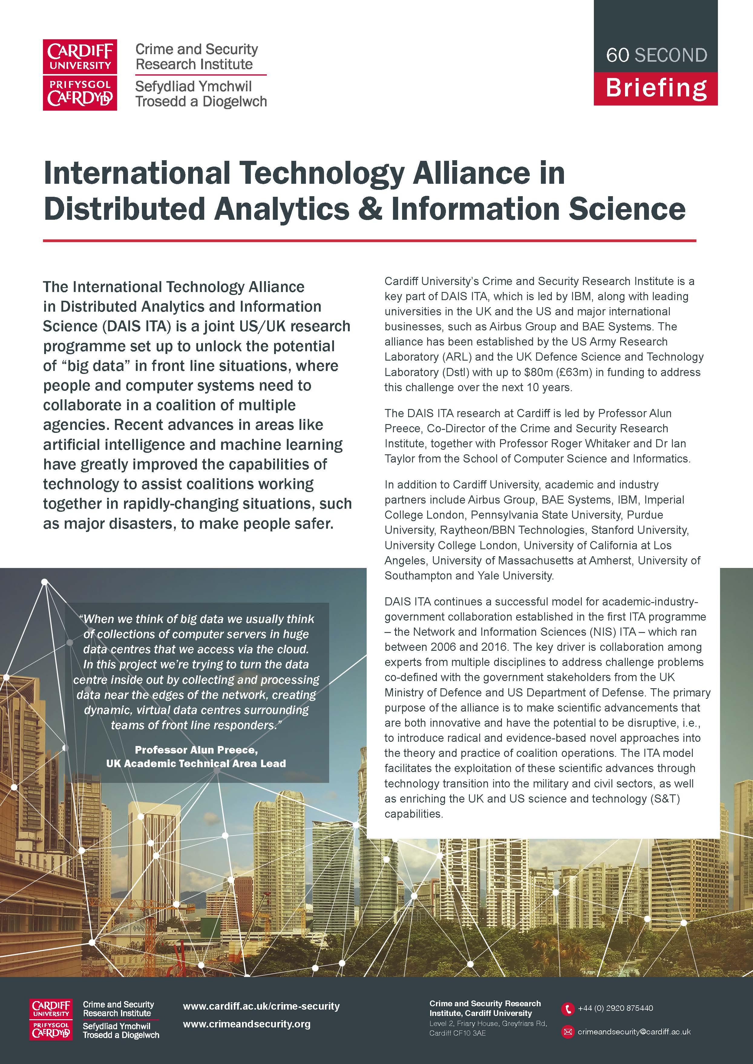 International Technology Alliance in Distributed Analytics & Information Science[ITA DAIS] -