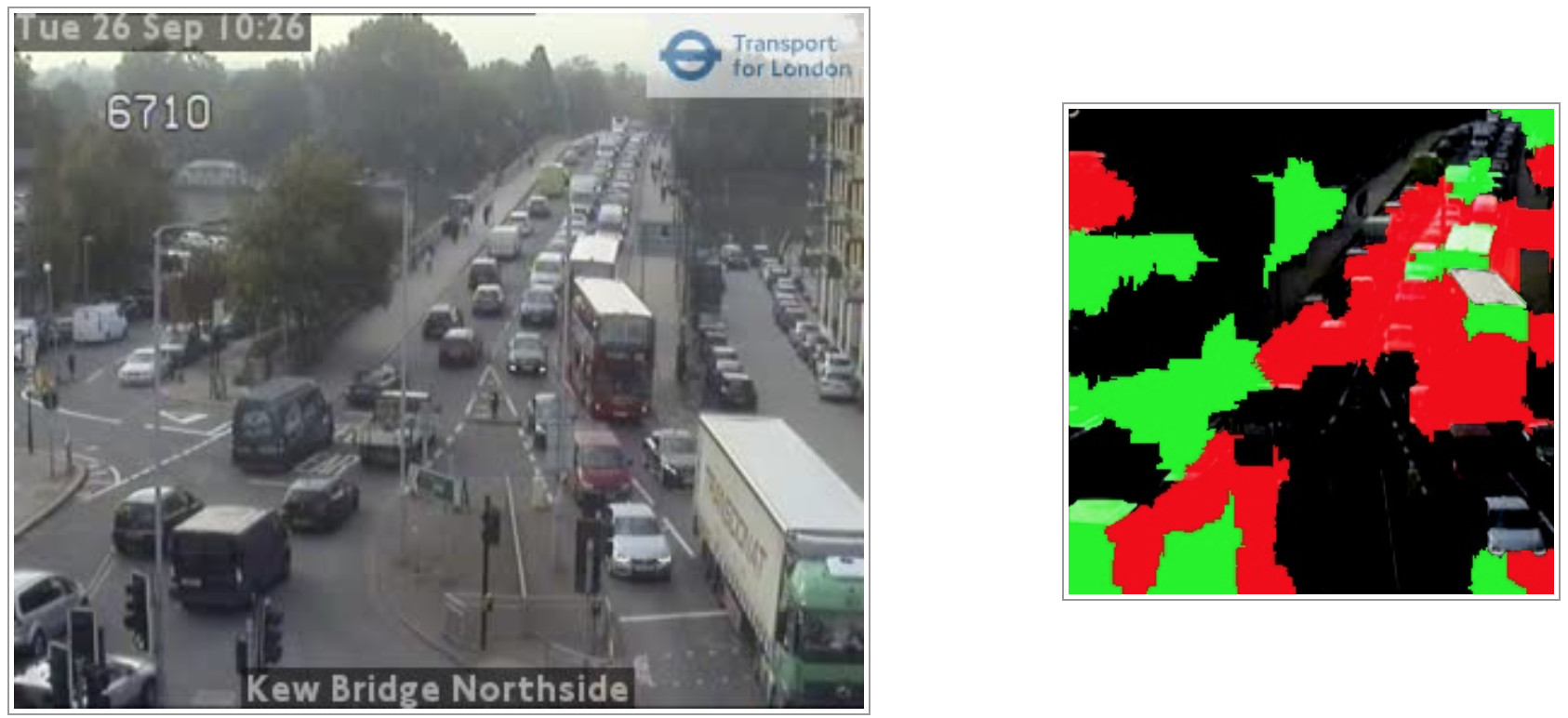 """""""Saliency Map"""" showing why our ML system classified this image (from Transport for London open data) as """"congested"""" (the red areas)."""