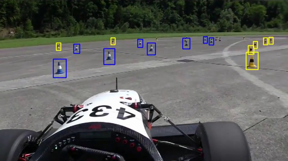 Cardiff's AI detecting cones from formula student test footage provided by Academic Motorsports Association of Zurich