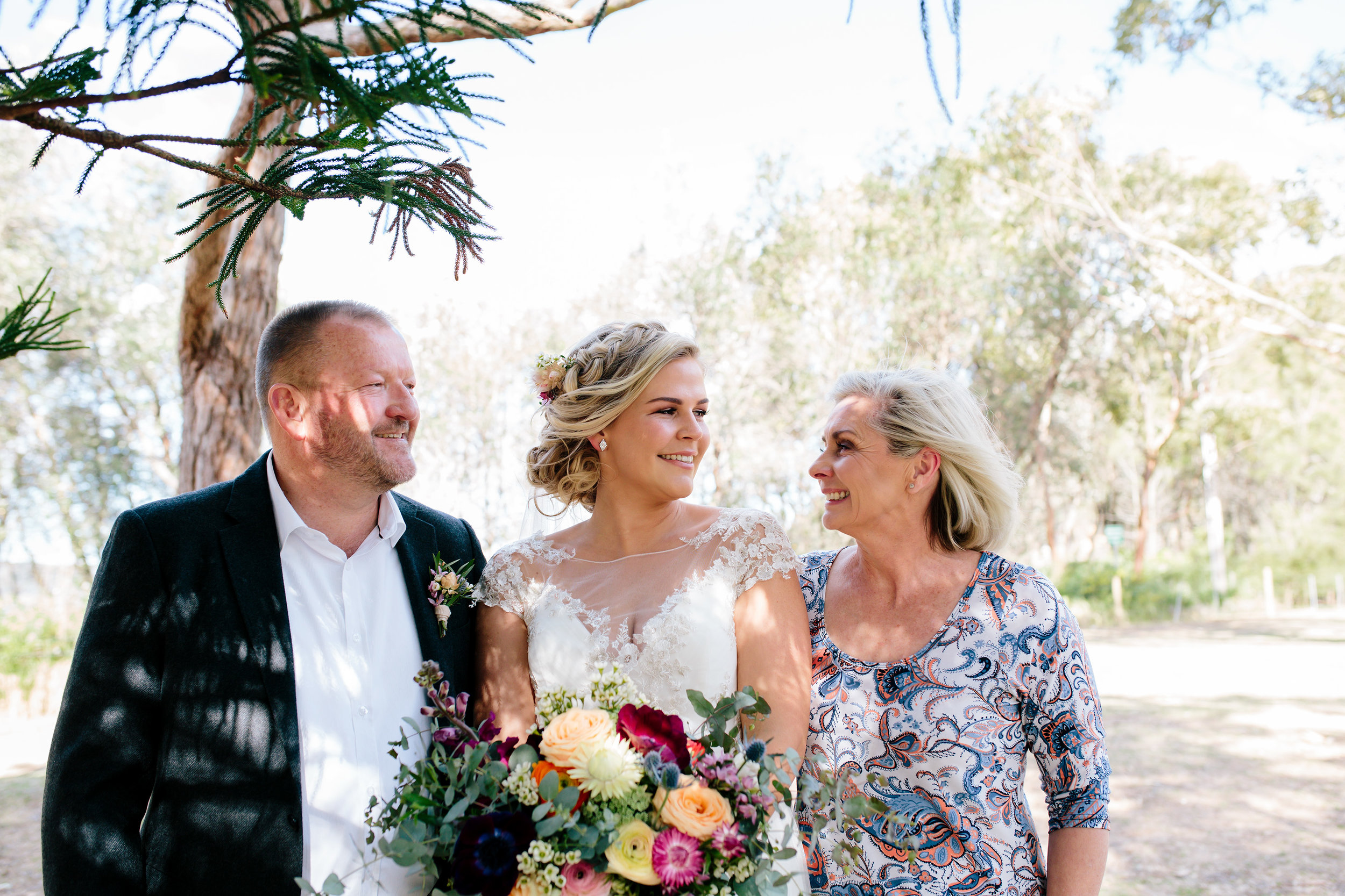Hills District, Sydney Wedding photography - bride and parents