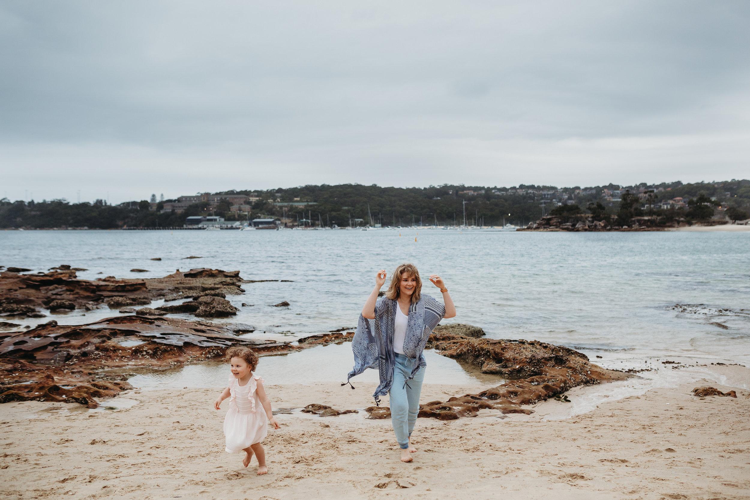 Candid beach family photos