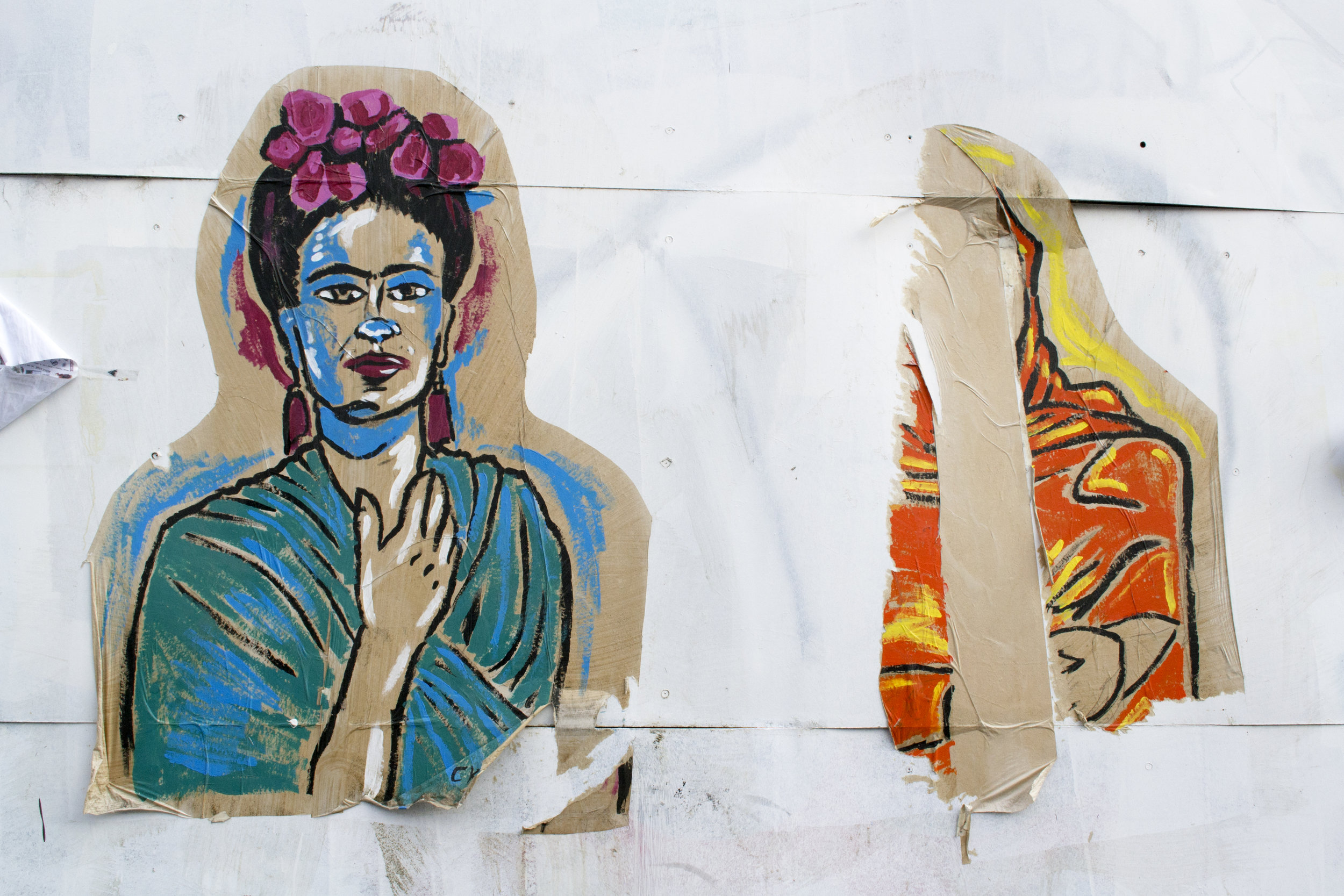 Frida Kahlo  &  Malala Yousafzai  paste ups, unknown artist, Photo: Sally Northfield