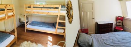 De 4 persoons kamer en een privékamer. Beide privékamers hebben een tweepersoonsbed.