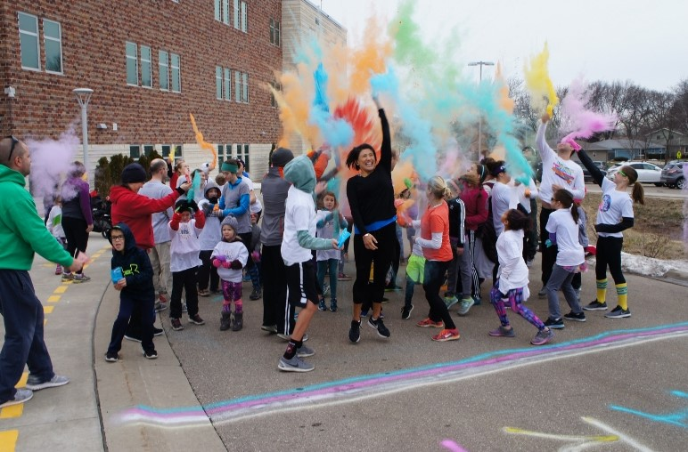 District families come together for Family Fun Days like this Color Run.