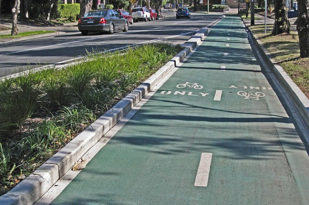One of Sydney's few separated bike paths