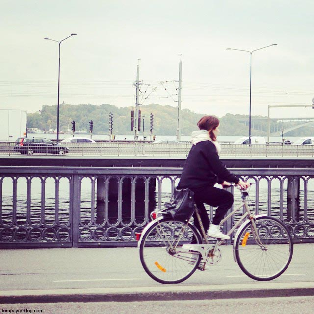 Pedalling home from work in Stockholm.