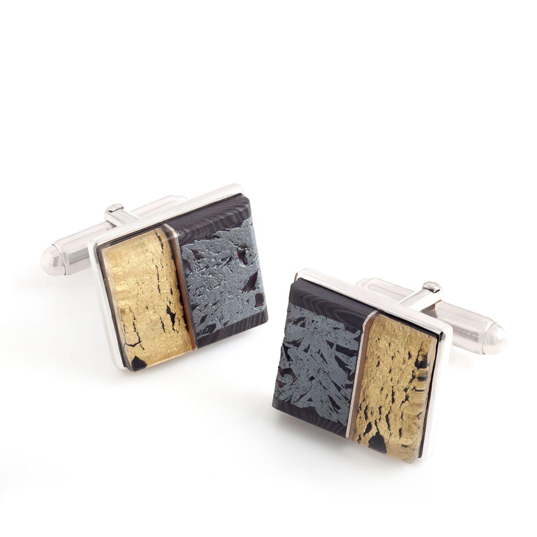 袖扣     赤铁矿,水晶,贝母,  18K  黄金,  925  银镀  18K  白金